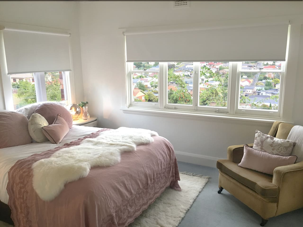 Bedroom 1 with views looking over South Launceston