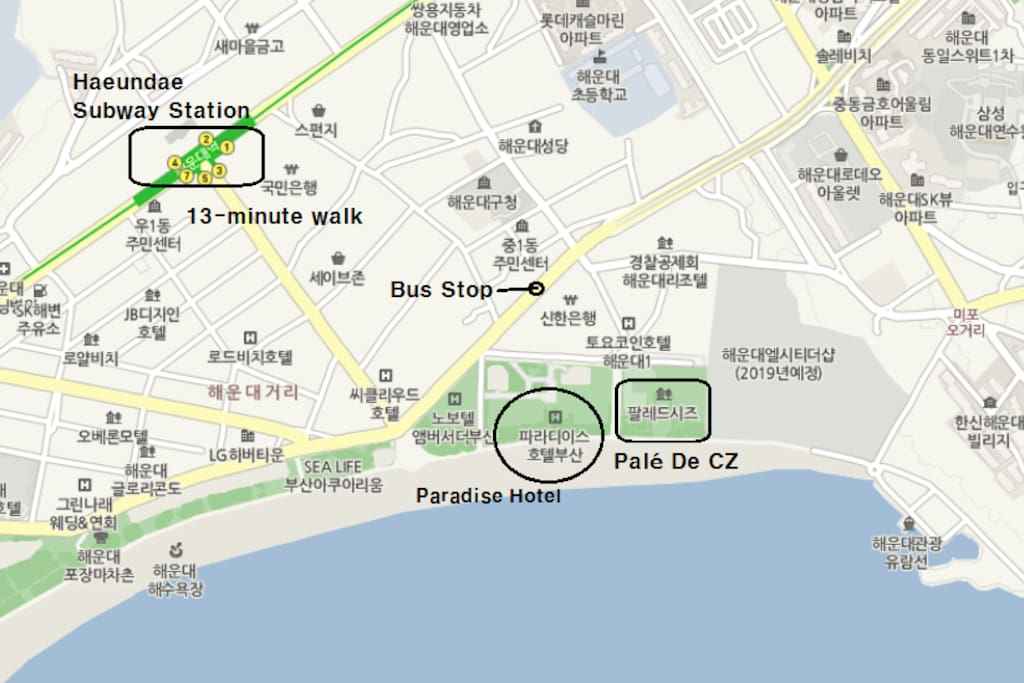 Exit #3 at Haeundae subway station and follow the same road all the way down to beach.