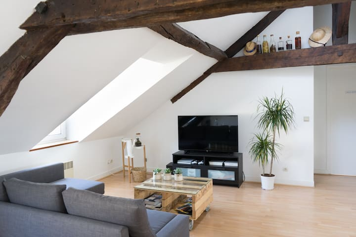 Cute apartment with wooden beams