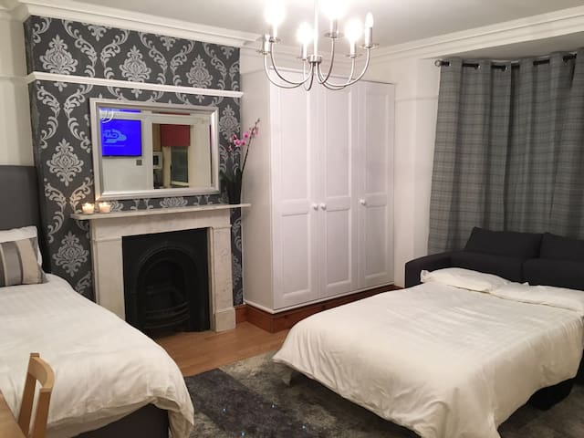 1 bed & 1 sofa bed studio in Ealing sleeps up to 3