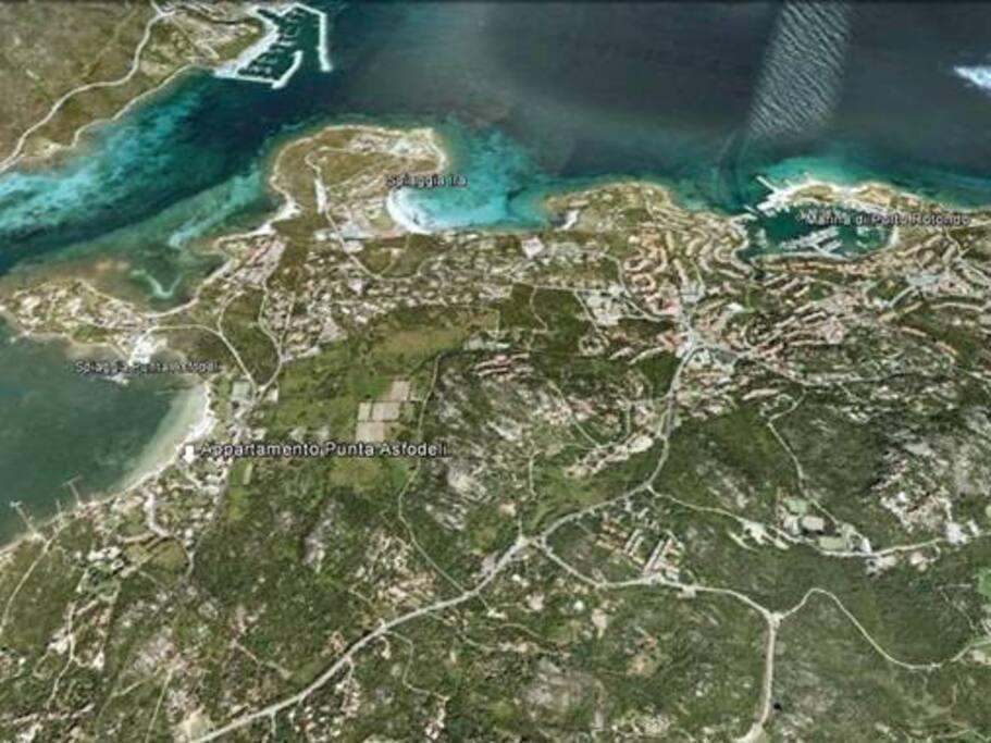 Posizione del residence rispetto a Porto Rotondo e Portisco / Residence position with respect to Porto Rotondo