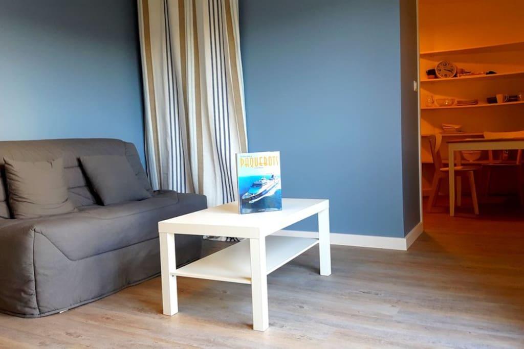 Le Studio, le canapé lit et la cuisine