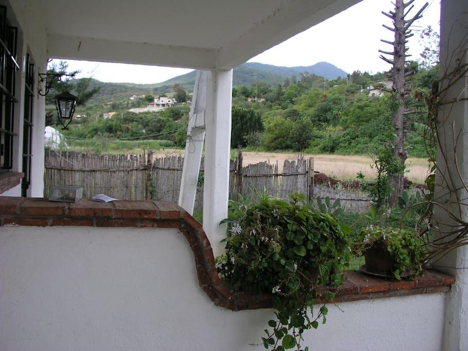 vista panorámica desde su ventana y patio.