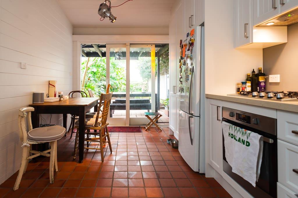 Kitchen overlooks quiet north-east courtyard