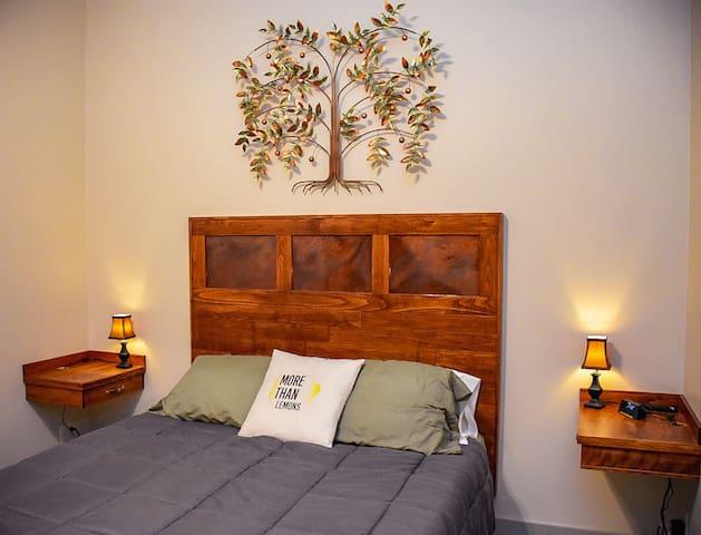 Hand built queen size bed with memory foam mattress