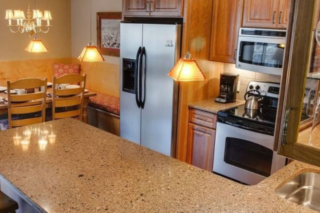 The newly remodeled gourmet kitchen