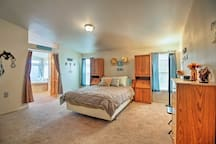 The master bedroom is both large and comfortable.