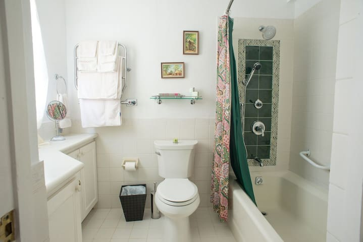 Second bathroom - Tub/shower with spa shower head and heated towel rack
