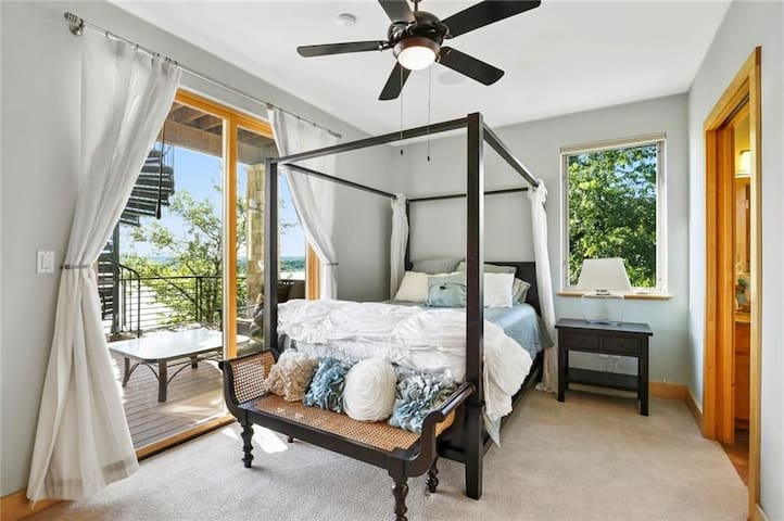 Full bed, with private patio, shared jack and jill full bath, private sink and closet space. On first floor
