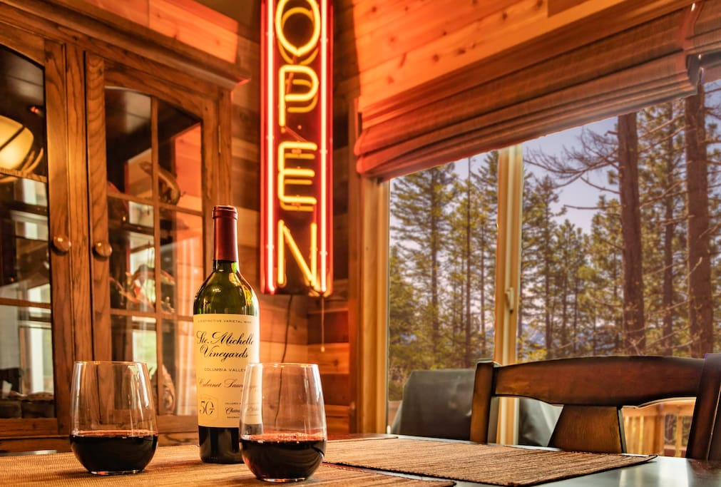 Pop open a bottle of complimentary wine while you unpack and unwind