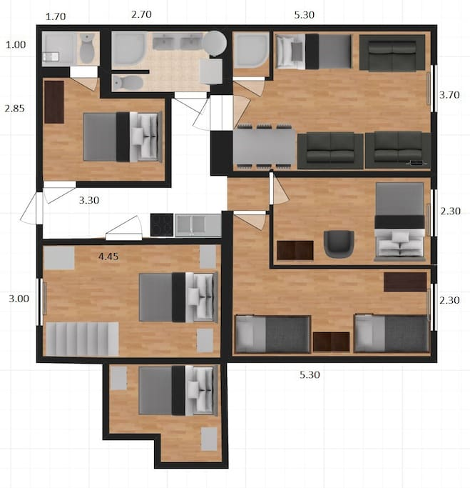 Layout of the 5 Bedroom Apartment