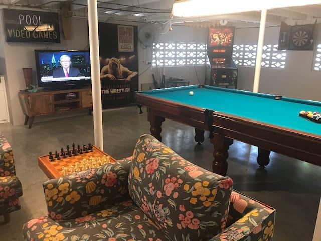 play pool, pinball, darts, chess, Chinese checkers!