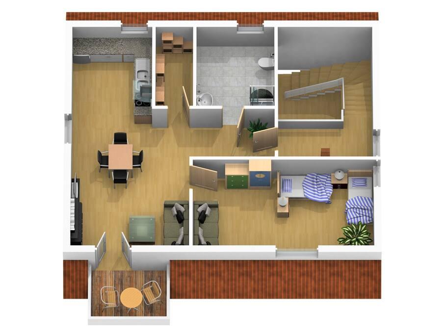 Grundriss Studio-Wohnung/ plan top floor vacation rental