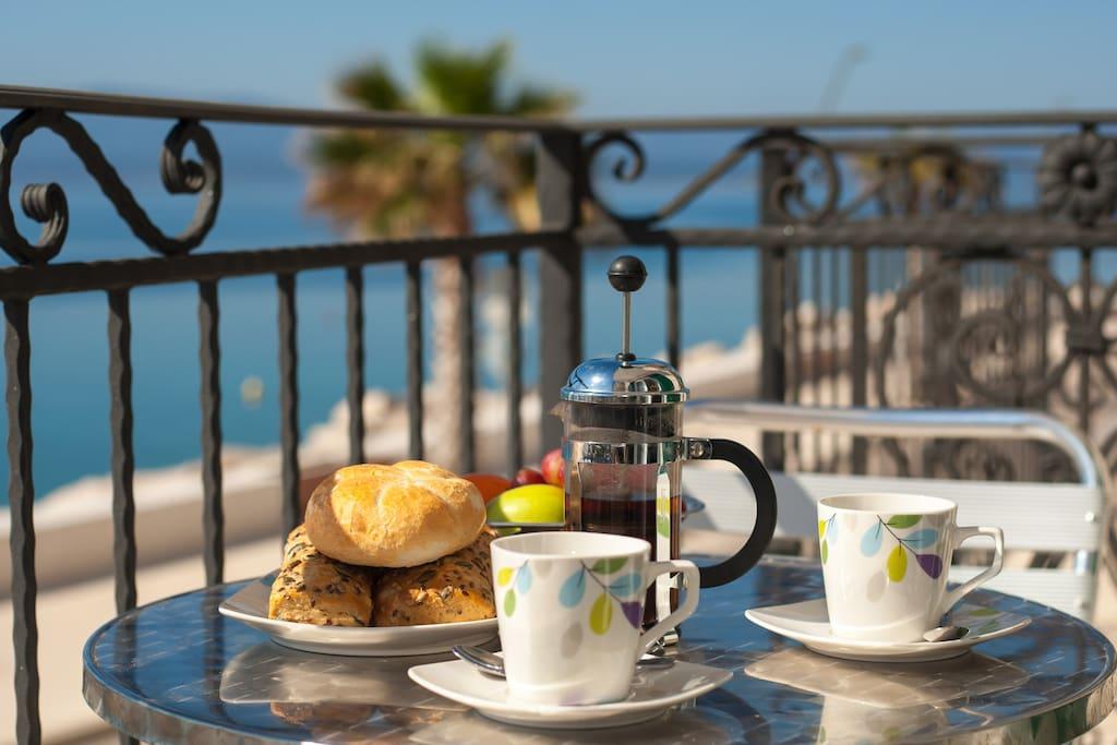 enjoy breakfast with fabulous sea view