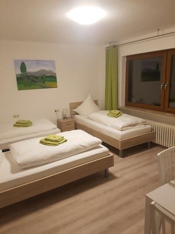 Das grüne Zimmer mit zwei bis maximal 3 Betten...
