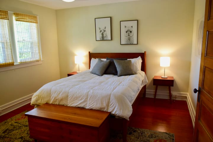 """The Llama Room (Master): Sun soaked and Cheerful. Original wood floors. Queen size bed with new mattress & bedding. Extra blankets, ironing board and iron in closet, 55"""" TV. En-suite bathroom has newer shower, blow dryer, full length mirror."""