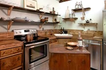Kitchen, with live edge wood countertops