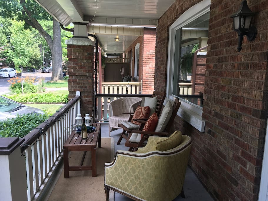 Welcome to our home!  Enjoy drinks or casual dining on our large front patio.