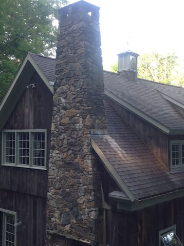 Shed Dormers, fieldstone outside fireplace