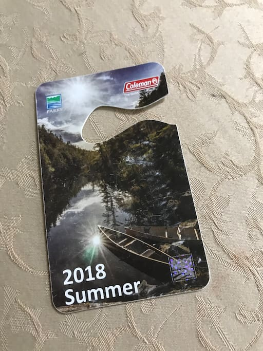 This is a Provincial Park pass available from April 1st to November 30th that is good for Sandbanks (15 minutes away) and North Beach (35 minutes away) that guests may use DURING THEIR TIME CHECKED IN HERE. It must be returned along with the room key by check out which is 11 AM. There is no exception to this policy as the pass must be available for arriving guests who are checking in.