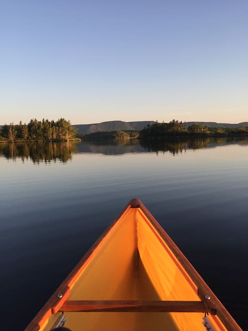 View while paddling from the cottage across the harbor, early morning.