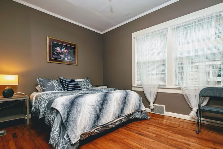 """Travis Kelce"" Bedroom - Historic KC Neighborhood"