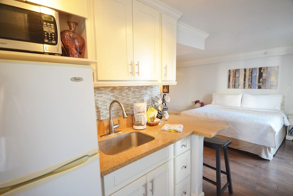 Kitchenette with complementary goodies