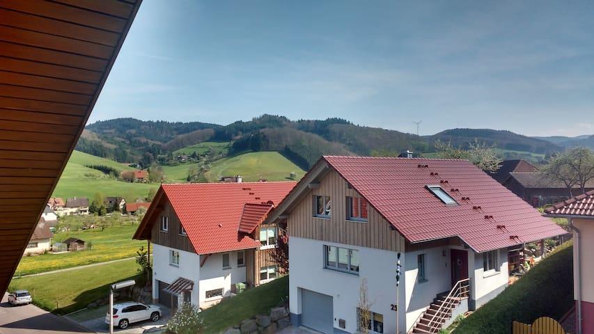 Vom überdachten Südbalkon hast Du eine sehr schöne Aussicht in das Schuttertal im Schwarzwald