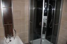 Luxury shower and bath in main bathroom.