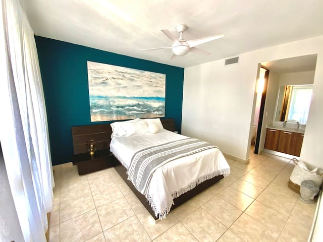 """Room #1:  Queen bed with 3"""" Memory Foam mattress topper, private bathroom with shower and double sink."""