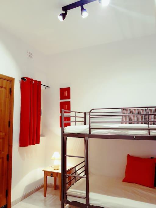 Second bedroom with bunk beds and en suite bathroom - sleeps 3