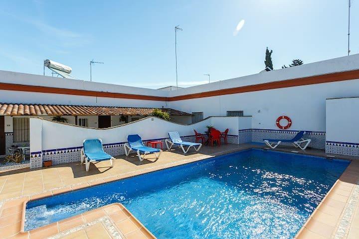 Apart. con piscina 5 pers. Parking,barbacoa,WIFI - Conil de la Frontera - Departamento