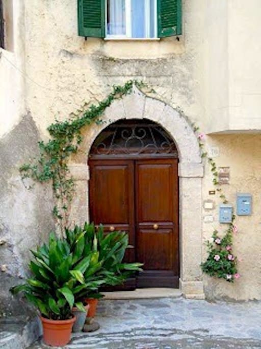 The 16th Century front door opens onto a little 'piazza'.