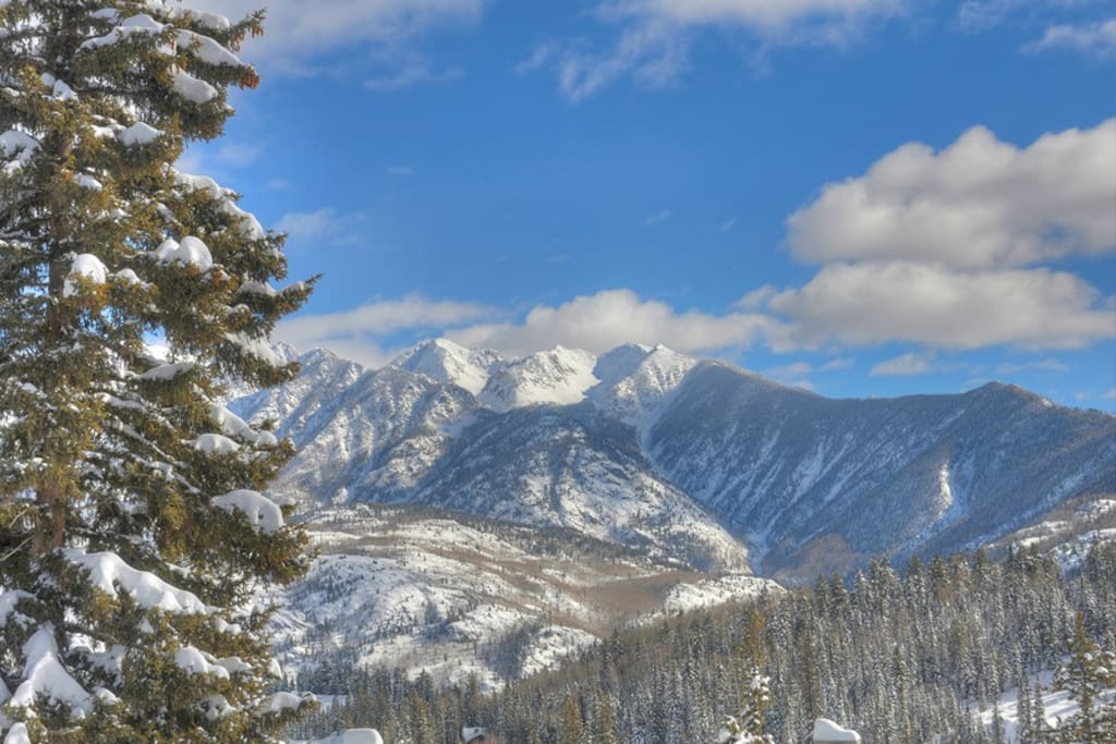 Winter snow mountain views from Durango Colorado vacation rental ski condo