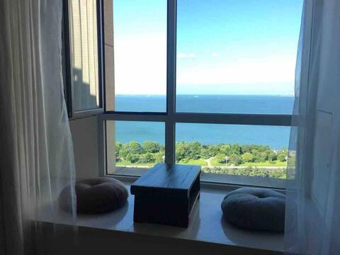 【岚海 一舍】room2城市中心五星级酒店旁的海景公寓+近刘公岛威海公园高铁站