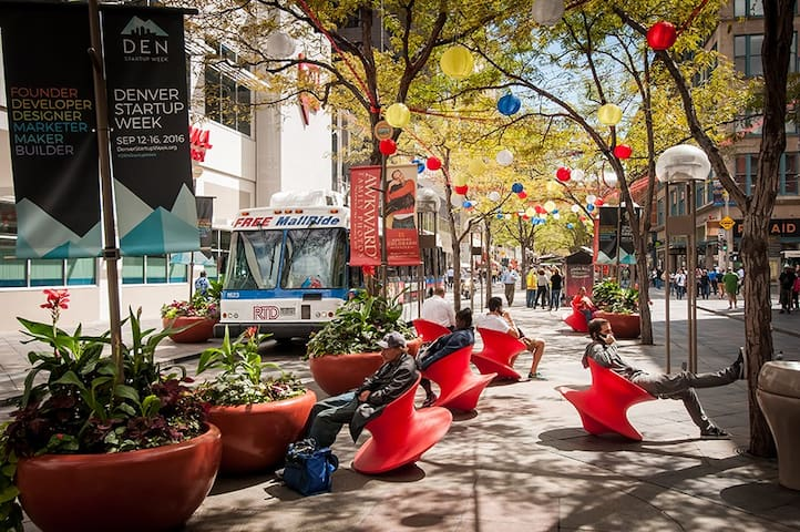 There is great shopping, dining and people watching on 16th street only a block away. Take advantage of the free mall ride to navigate your way north and south from Union State to Civic Center Station.