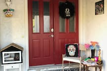 Halloween/Day of the Dead decorations. Additional spooky decor in the house - please don't get scared, it's not real.