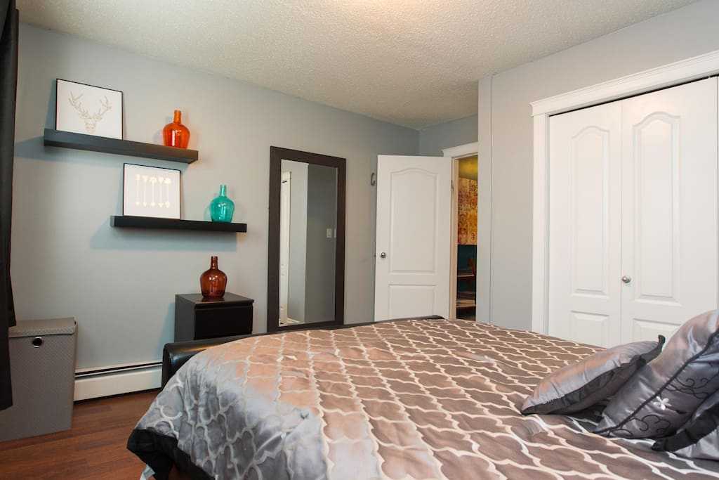 Master bedroom with full length mirror, laundry hamper and large closet (equipped with hangers)