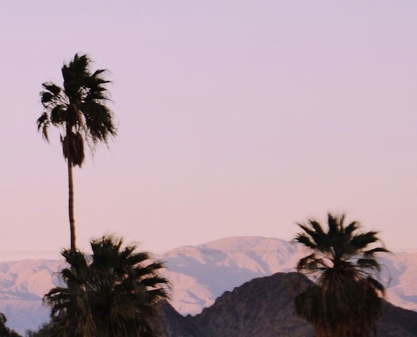 Your view of the mountains at dusk.