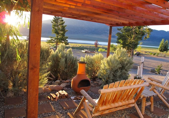 Your patio with the views of the reservoir and Sawtooth mountains