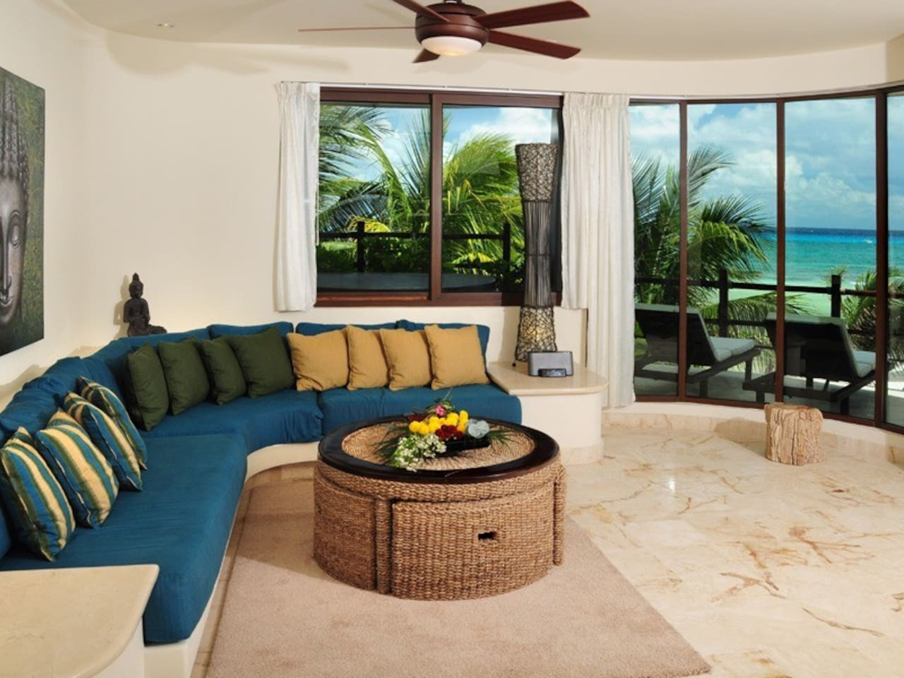 Spacious Living Room with Beautiful Partial Ocean Views