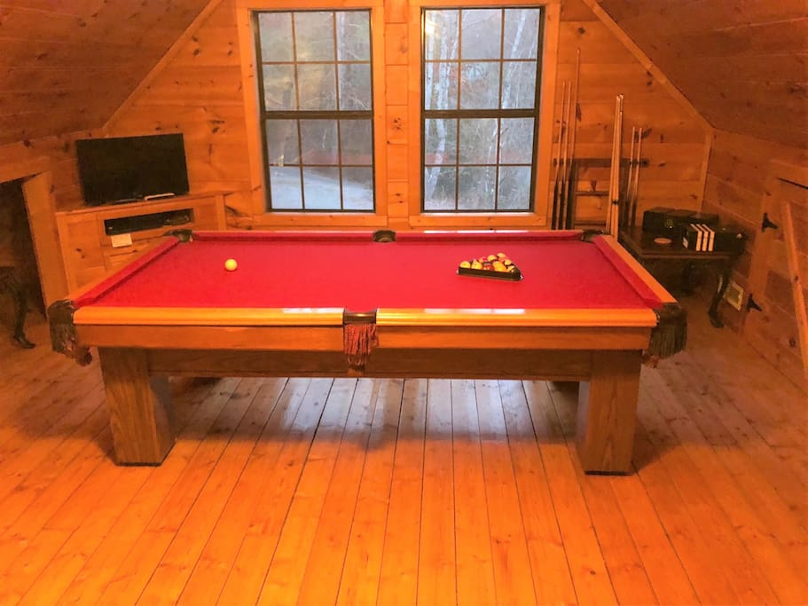 Newly refinished pool table with new felt and new leather pockets