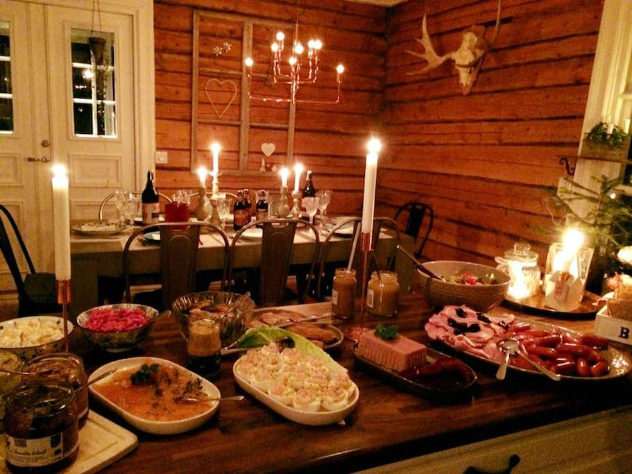 Christmas dinner. (Swedish Julbord)