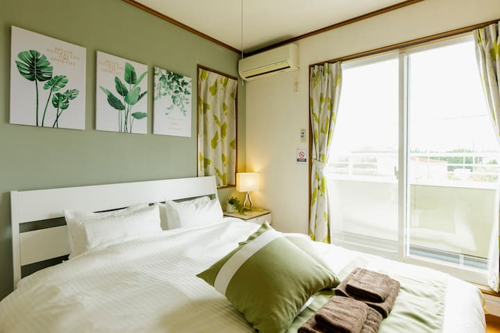 Take a break and recharge yourself. The comforting tones of green and white will help you wake up to a refreshing morning reenergized!