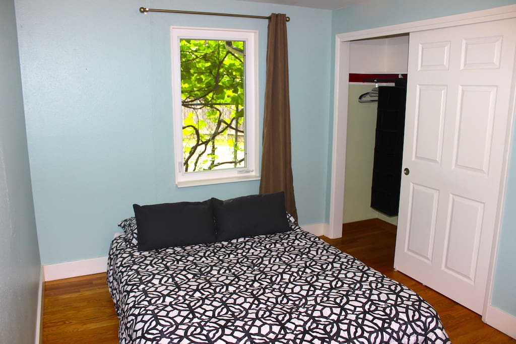 Second bedroom has a queen size futon and closet space.