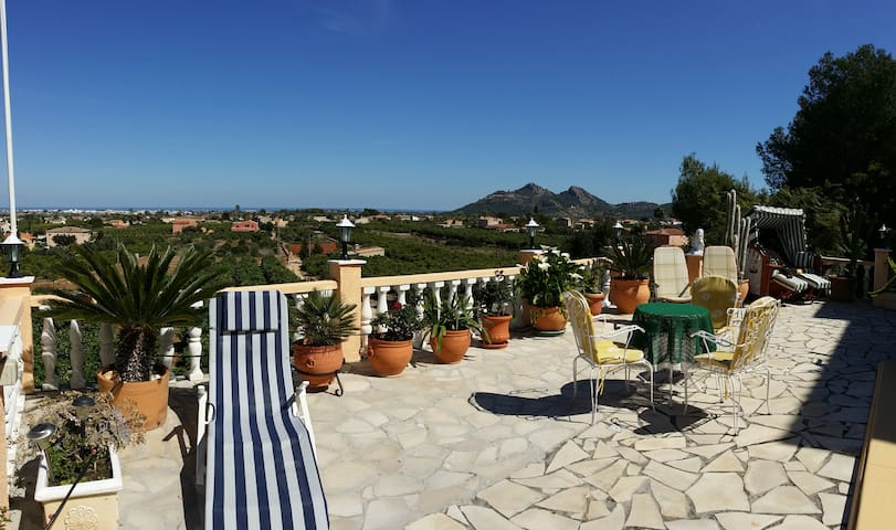 Large panoramic terrace with swimming pool - Pedreguer - Casa de camp