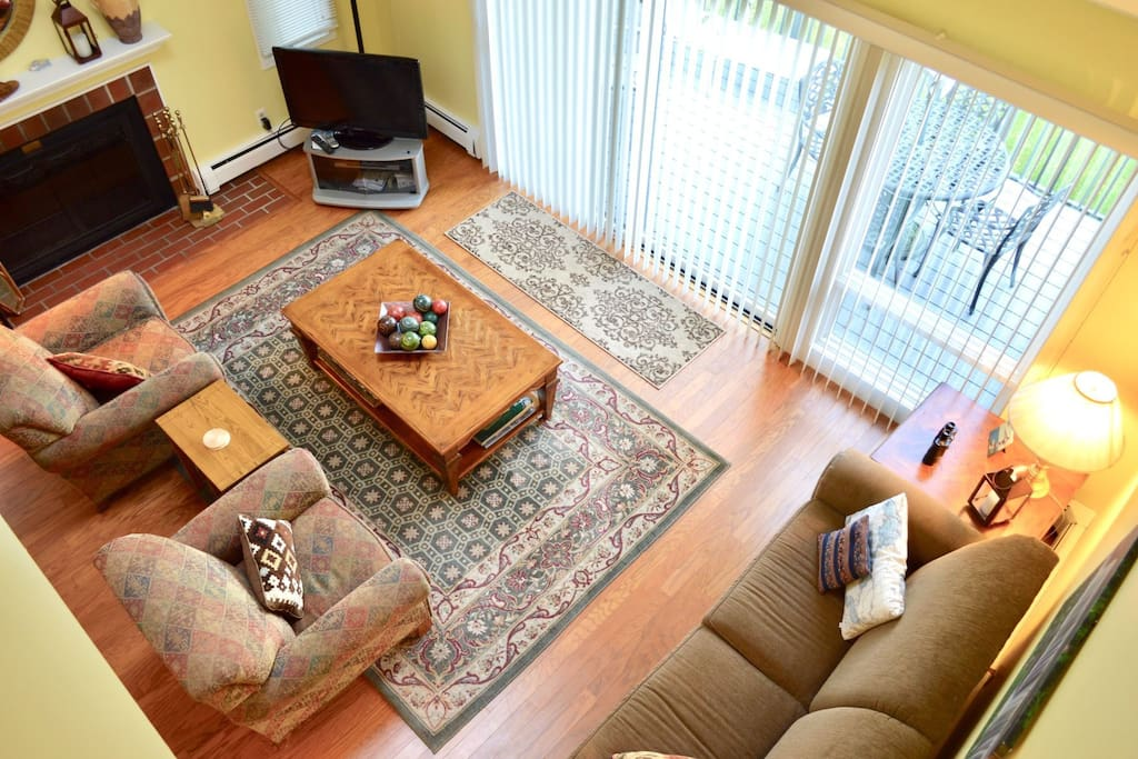 View of living room and wood burning fieplace