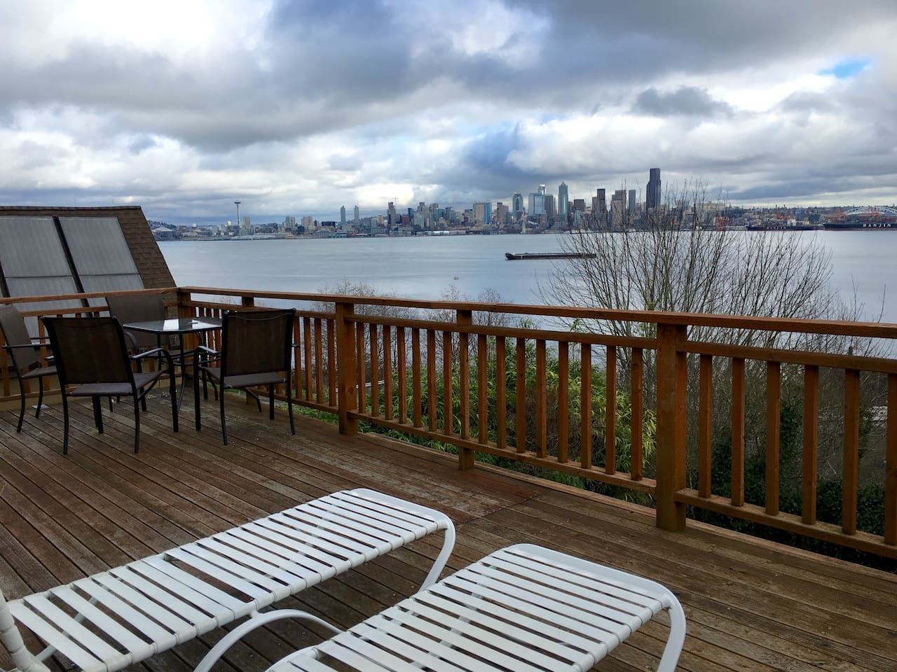 View of Seattle from the deck of the home. There is a gas grill available for use at no additional charge.