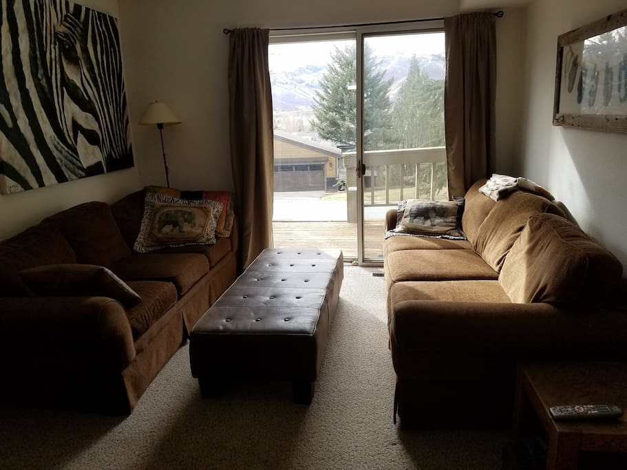 Pull out couch to make a sleeping pit in the living room