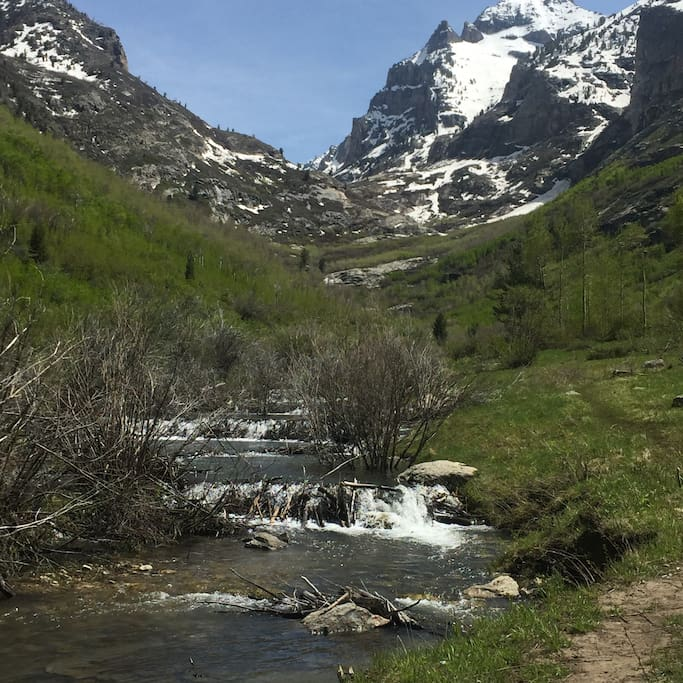 Ruby Mountains, hike above waterfall in campground, trail from camp space #33, strenuous hike to glacial cirque, awesome!